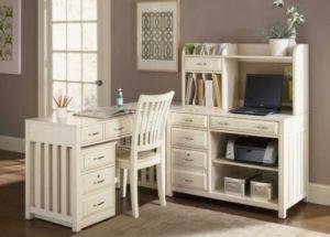 Белый глянцевый письменный стол с надстройкой