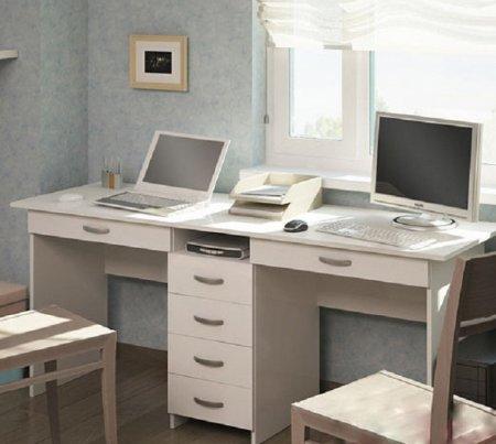 Белый письменный стол для двоих школьников