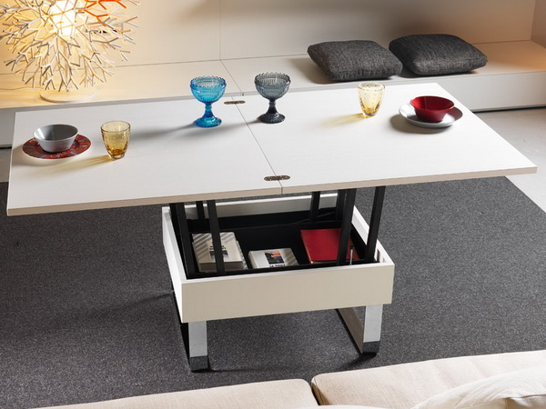 Белый стол трансформер в интерьере