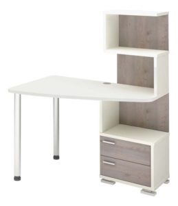 Большой угловой стол с надстройкой на двух цилиндрических ножках