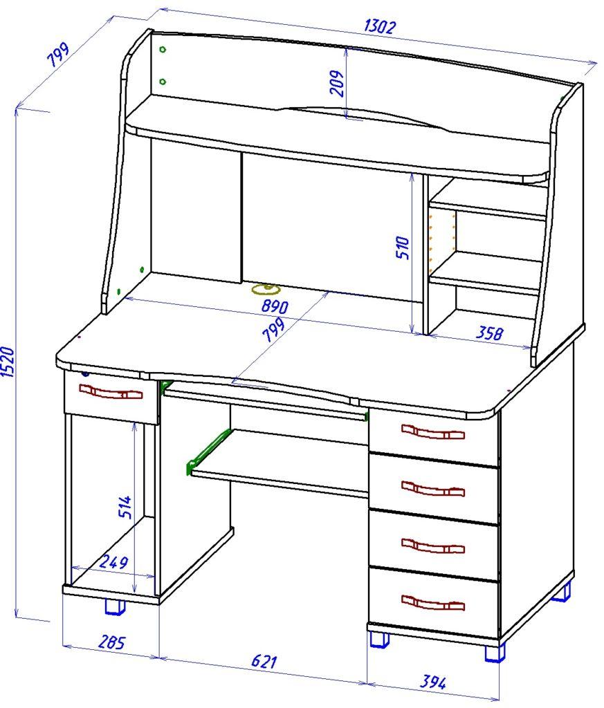 Размеры компьютерный стол