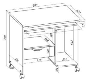 Компьютерный стол, размеры