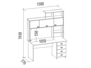 Чертеж письменного стола с размерами OFFICE /CRAFT ROOM 58