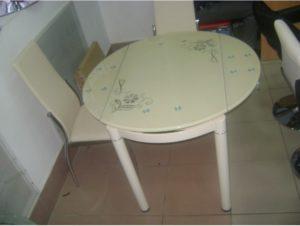 Круглый стеклянный раздвижной стол