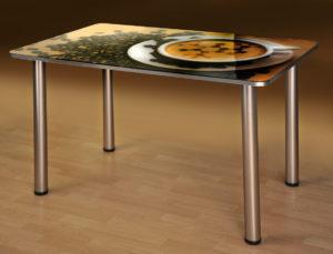Кухонный стеклянный обеденный стол с фотопечатью