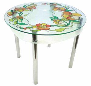 Кухонный стеклянный столик с росписью