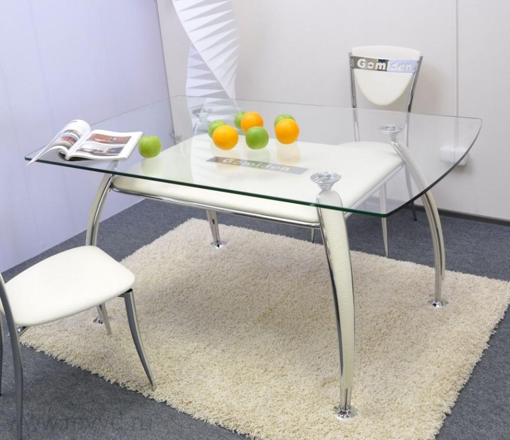 Кухонный стол из бесцветного прозрачного стекла