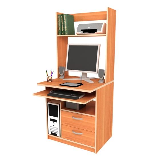 Малогабаритный компьютерный стол с надстройкой