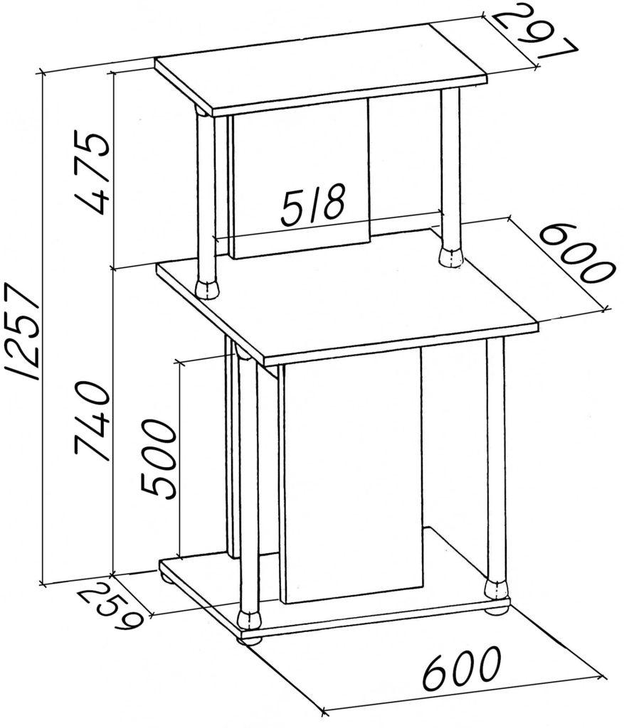 Компактный компьютерный стол чертежи