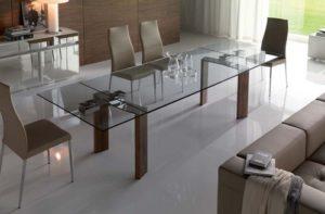 Обеденный стеклянный стол трансформер