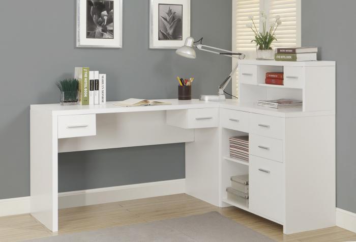 Обзор письменных столов с полками и ящиками