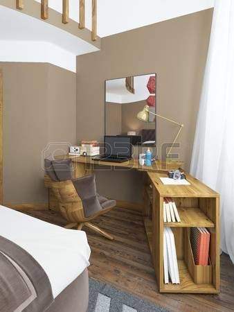 Письменный стол в современной спальни, из массива дерева с угловым вложением