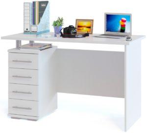 Прямой белый компьютерный стол