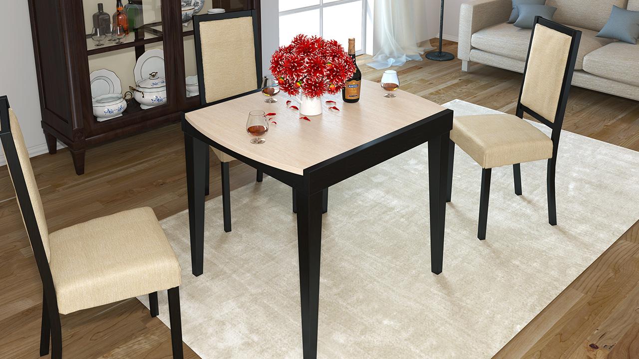 Раздвижной бело-черный стол