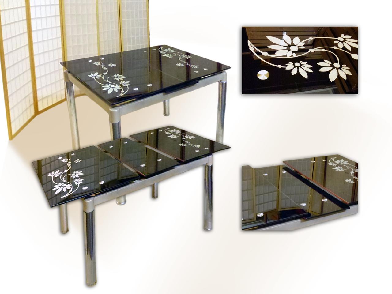 Раздвижной стеклянный стол с рисунком