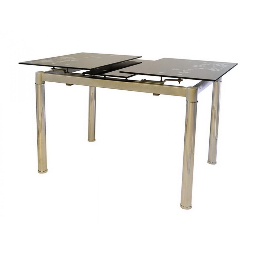 Раздвижной стол из чёрного стекла
