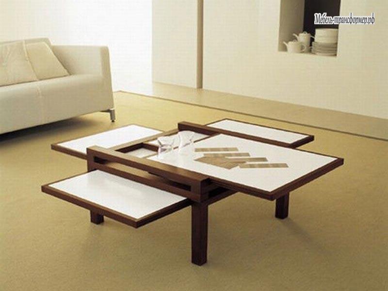 Раздвижной столик с полочками