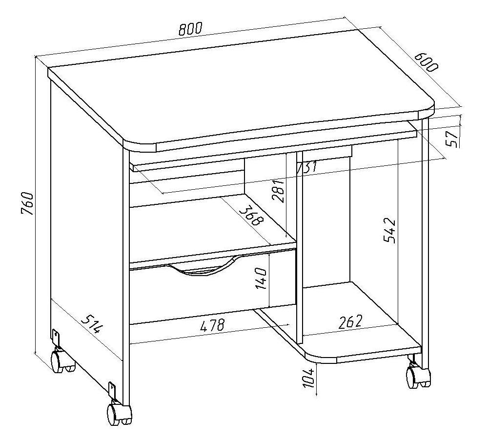 Размеры компьютерного стола