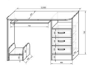 Схема и размер письменного стола