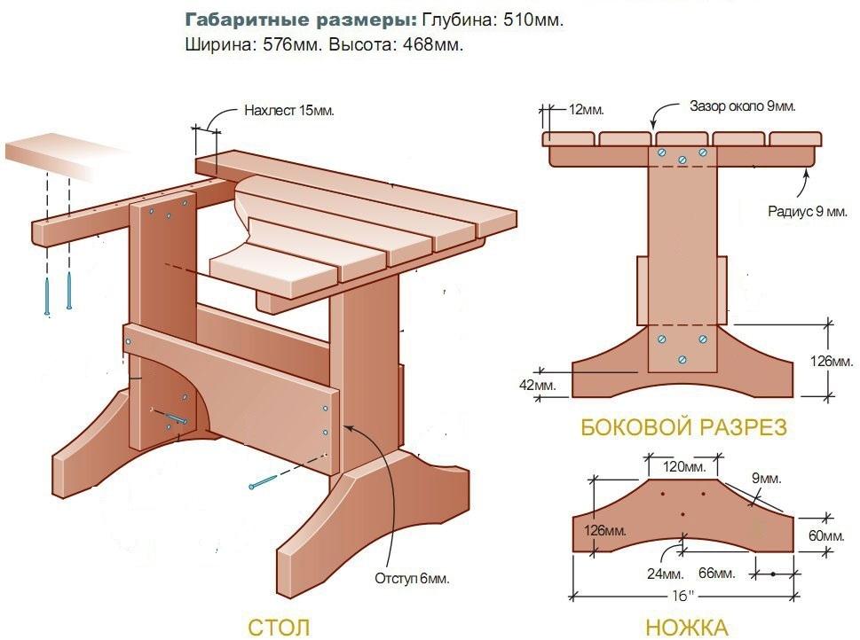 Садовая мебель из дерева чертежи и схемы