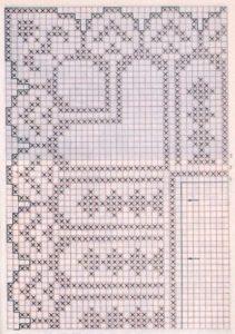 Схема узора широкого филейного кружева с зубцами для вязания крючком