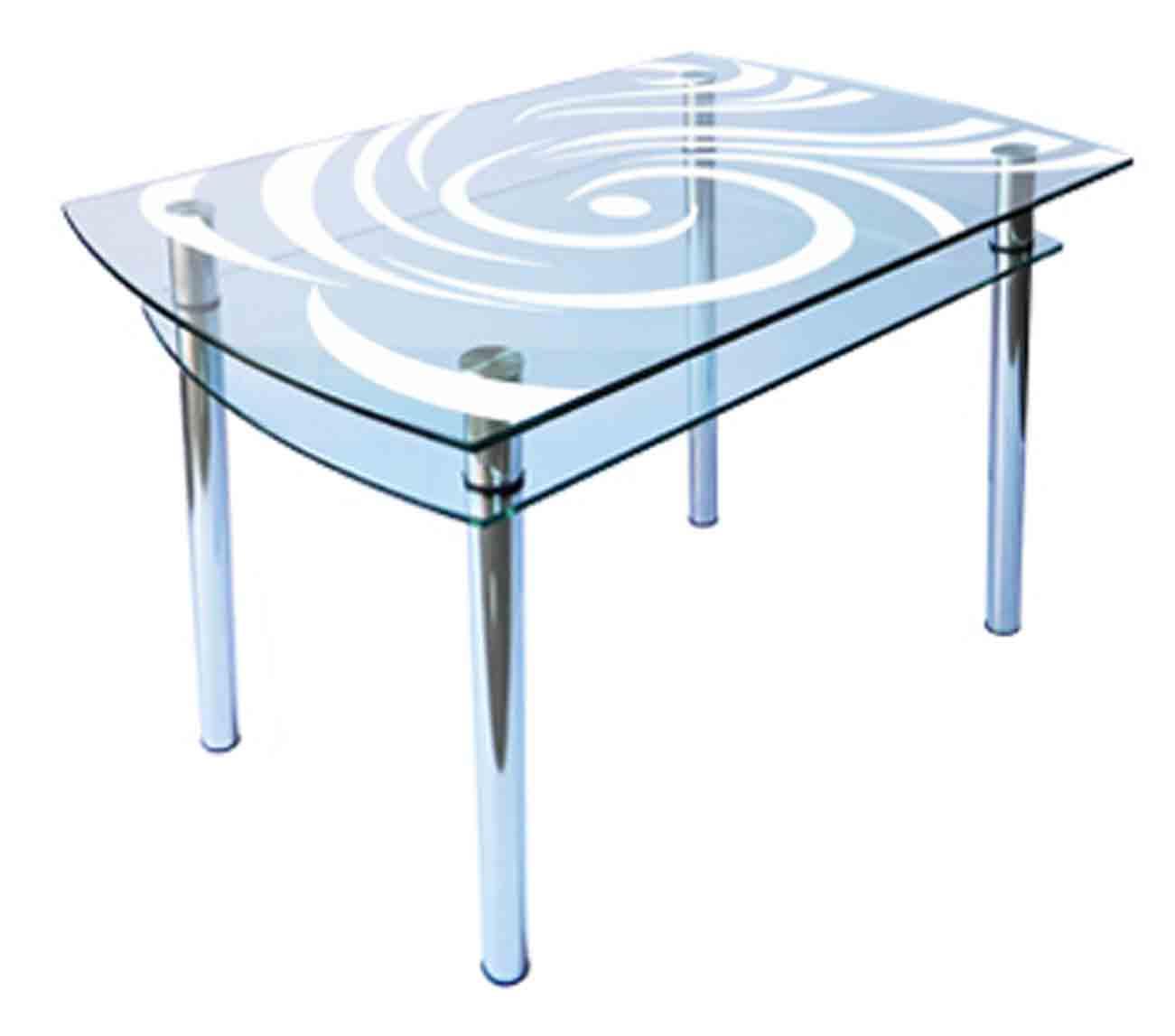 Стеклянный кухонный стол с рисунком