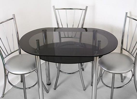 Стеклянный овальный кухонный стол