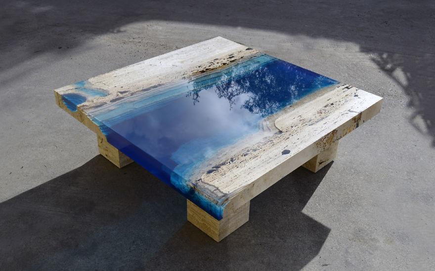 столы из дерева и эпоксидной смолы различные варианты сочетания