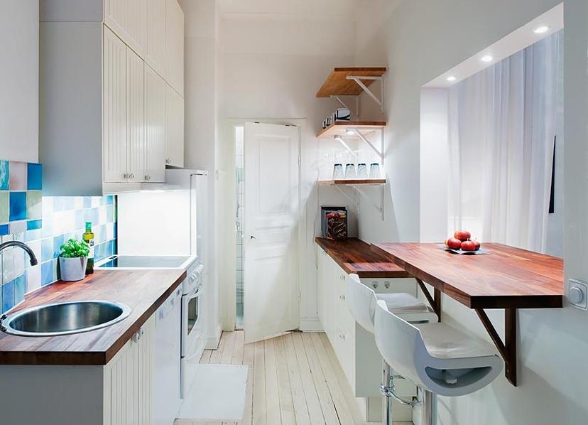 Столешница для кухни у окна дизайн