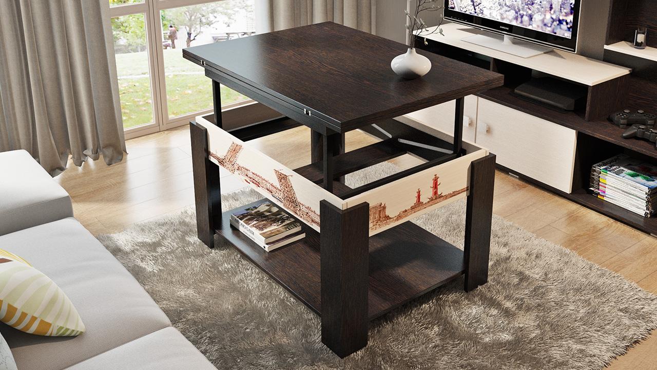 Какими бывают журнальные столы трансформеры для гостиной