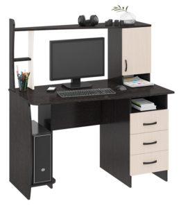 Темный компьютерный стол со светлыми вставками