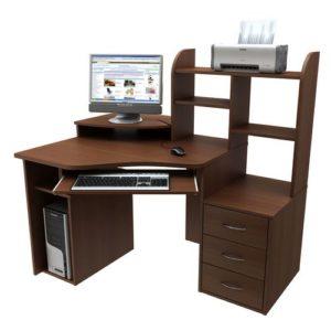 Угловой компьютерный стол для дома с надстройкой и тумбой
