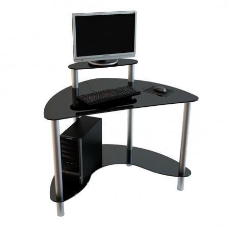 Угловой компьютерный стол из темного стекла
