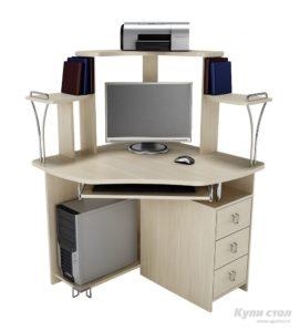 Угловой компьютерный стол с эргономичной формой столешницы