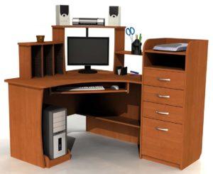 Угловой компьютерный стол с высокой тумбой