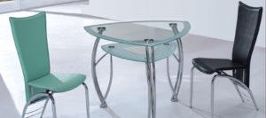 Угловой стеклянный стол для кухни