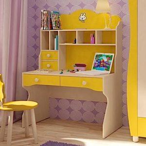 Желтый письменный стол с надстройкой