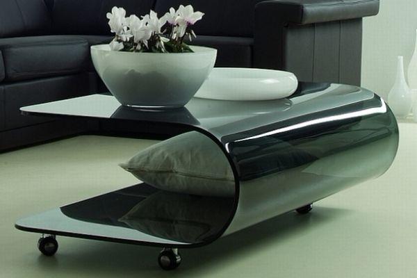Журнальный стол из гнутого тонированного стекла