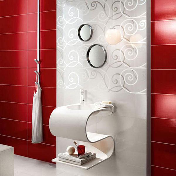 Стильная и экстравагантная красная ванная комната