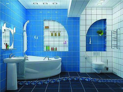 Синяя ванная комната (42 фото): символ моря и отдыха