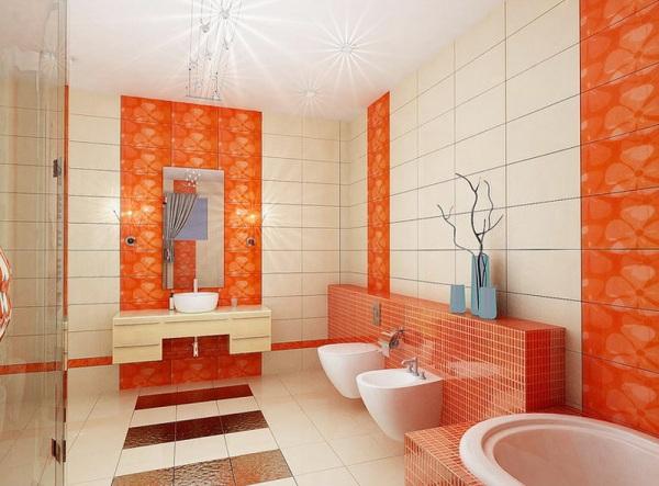 Оранжевая ванная комната (45 фото) – лето круглый год