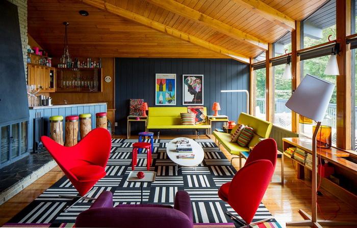 Яркий дом, интерьеры, фото