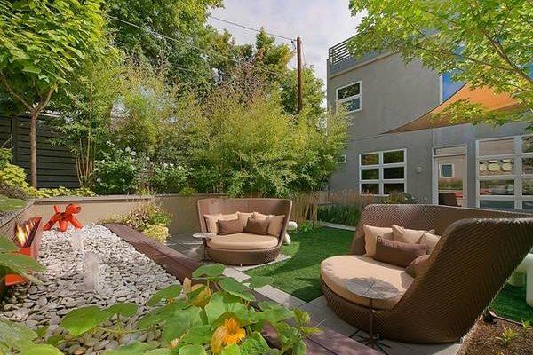 Ландшафтный дизайн двора частного дома — 30 фото и советы по оформлению