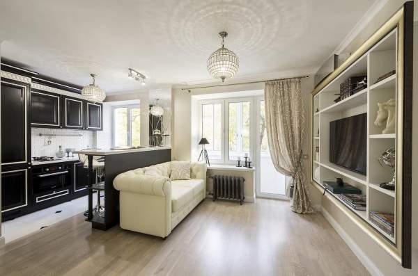 Идеи дизайна однокомнатной квартиры студии + 25 фото