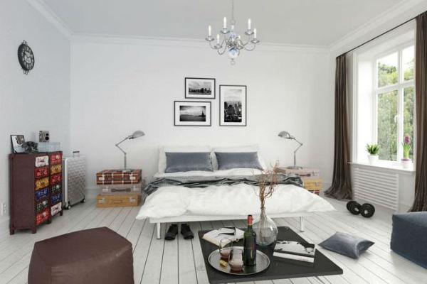Белоснежная скандинавская спальня (30 фото)