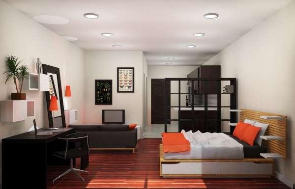 Дизайн интерьера однокомнатной квартиры: свежие идеи с30 фото