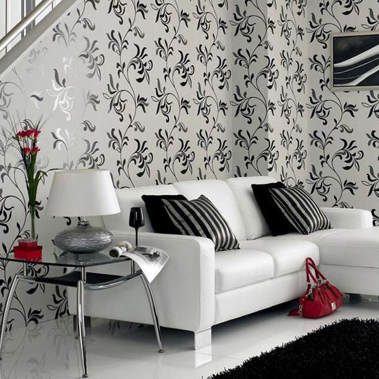 Интерьер гостиной в чёрно-белой гамме