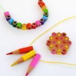 Радужные бусы из карандашей: сделай сам