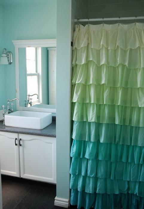 Бирюзовый цвет в ванной комнате