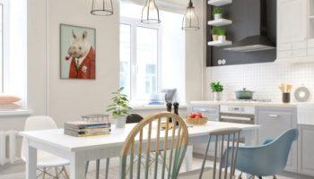 Скандинавский стиль винтерьере кухни: все оттенки белого (70 фото)